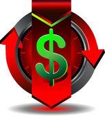 Dólar de botão — Vetor de Stock