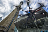 Flying drone in the skies of Toronto — Stock Photo
