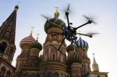 Flying drone in the skies of Moscow — Stock Photo