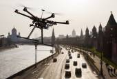 Drone in the skies of Moscow — Stock Photo