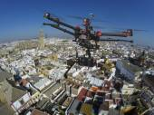 Drone flying over the roofs of Seville — Stock Photo