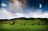 Night landscape background with moon — Foto de Stock