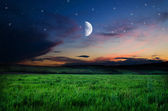 Night sky and field background — Stock fotografie