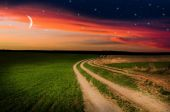 Rural road and sky with stars in the night — Stock Photo
