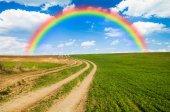 Rainbow and green field — Stock Photo