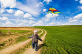 Little boy and kite — Stock Photo