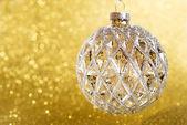 Christmas decoration on yellow bright holiday background — Stock Photo