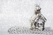 Festive Vintage Christmas decoration on abstract glitter background — Stock fotografie