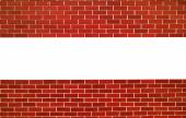 Red brick wall. horizontal line with space for text — Stock Photo