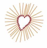 Heart from matchsticks — Stock Photo