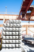 Crane operator works at finished good warehouse — Foto Stock