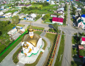 Aerial view on temple in honor of the Ascension, — Foto de Stock