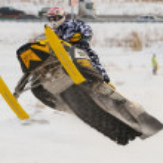 Sport snowmobile jump — Stock Photo #53929243