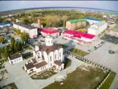 Aerial view on St.Nicholas church in Borovskiy — Stock Photo