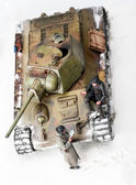 Diorama with old soviet t 34 tank. Top view — Stock Photo