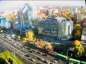 Gazprom building and Respubliki street. Tyumen — Stock Photo