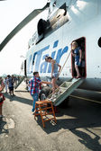 People exploring the MI-26T helicopter — Stock Photo