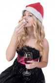 Attractive blond woman eating cake — Foto Stock