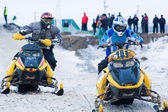 Racing of snowmobiles — Stock Photo