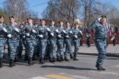 Group of police special troops on parade — Stok fotoğraf