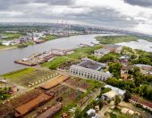 Aerial view on Tyumen Repair Yard. Russia — Stock Photo