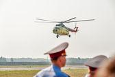 Passenger helicopter MI-8 landing — Stock Photo