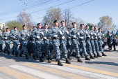 Group of police special troops on parade — Stock Photo