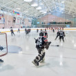 Warm-up before game of children ice-hockey teams — Stock Photo #60362987