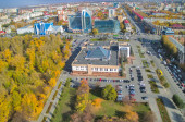 Aerial view on business buildings in Tyumen — Stock Photo