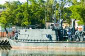 Mine trawler on parking — Stock Photo
