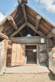 Russian sauna from big logs. Front view — Stock Photo