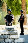 Egyptian Police Officers stand on post — Stock Photo