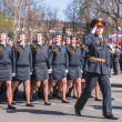 Women-cadets of police academy march on parade — Stock Photo #61299397