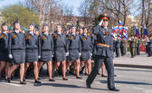 Women-cadets of police academy march on parade — Stock fotografie