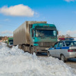 Trucks stopped on highway after heavy snow storm — Stock Photo #61415709