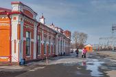 Old railway station in Yalutorovsk. Russia — Stock Photo