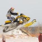 Sport snowmobile jump — Stock Photo #62198045