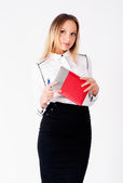 Portrait of a business woman with organizer — Stock Photo