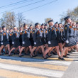 Women-cadets of police academy marching on parade — Stock Photo #63164497