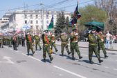 Banner group of russian army division on parade — Stock Photo