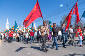 Employees of Sberbank with families on parade — Foto de Stock