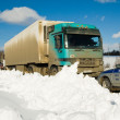 Trucks stopped on highway after heavy snow storm — Stock Photo #63216961