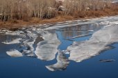 Thawing ice floats down river — Stock Photo