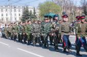 Group of cossacks march on parade — Stock Photo