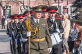 Military cadet orchestra on Victory Day parade — Stock Photo