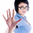 Pretty girl shows stop gesture — Stock Photo #64590003