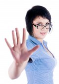 Pretty girl shows stop gesture — Stock Photo