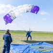 Parachutist missed by landing point — Stock Photo #64811381