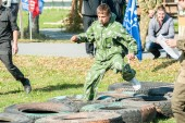 Cadet passes sports stage of relay — Stock Photo