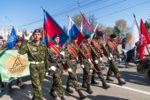 Patriotic club cadets marching on parade — Zdjęcie stockowe
